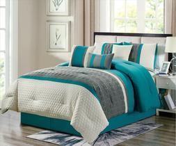 Empire Home 7-Piece Enas Comforter Set Turquoise / Gray Embr