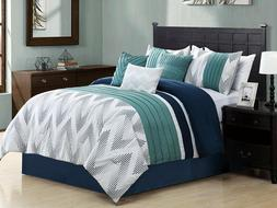 Empire Home 7 Piece Solid Chevron Queen Size Oversized Comfo