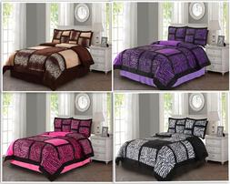 Empire Home Safari Damask 4-Piece Comforter Set Bed In A Bag
