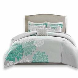 Comfort Spaces – Enya Comforter Set - 5 Piece – Aqua, Gr