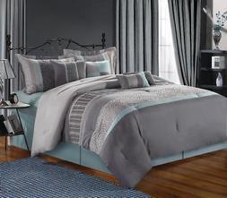 Chic Home Euphoria 8-Piece Embroidered Comforter Set, Aqua K