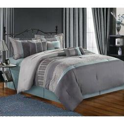Euphoria Grey Comforter Bed In A Bag Set 12 piece - Queen