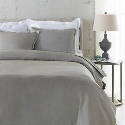 Surya Evelyn Gray Linen King Duvet Set