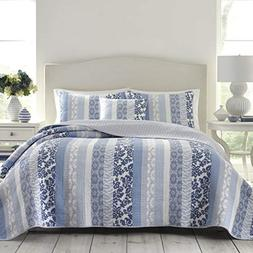 Laura Ashley Evelyn Quilt, King, Medium Blue