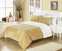 Chic Home Evie 3 Piece Blanket Set Soft Sherpa Lined Micropl