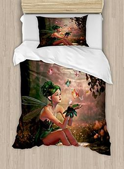 Ambesonne Fairy Duvet Cover Set Twin Size, Girl with Wings a