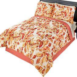 Fall Leaves Pattern Comforter Set, 4 pc