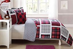 Fancy Linen 4 pc Full Size Bedspread Coverlet Reversible Pla