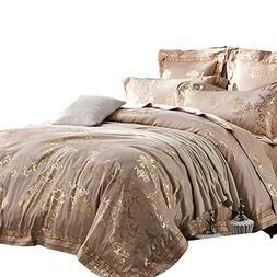 MKXI Fashionable Pattern Satin Jacquard Silk Duvet Cover Set