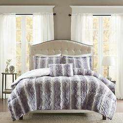 Faux Fur King Size Bedding Comforter Set Soft Ultra Plush Co