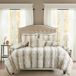 Faux Fur Full/Queen Bedding Comforter Set Soft Ultra Plush C