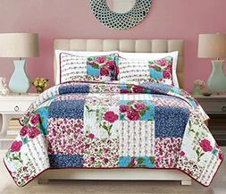 3-Piece Fine printed Country Rose Oversize  Quilt Set Revers