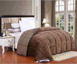 Flannel Goose Down Alternative Comforter , Reversible, Silic