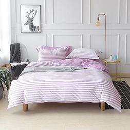 ON SALE Flannel Purple Striped Twin Duvet Cover Set Kids Gir