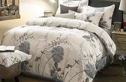 Wake In Cloud - Floral Comforter Set, Botanical Flowers Patt
