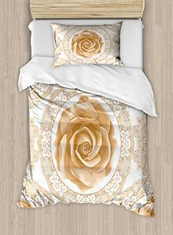 Ambesonne Floral Duvet Cover Set Twin Size, Rose Florets wit