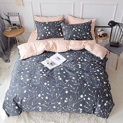 King Duvet Cover Cotton Bedding Set Gray Flowers Branches Pr