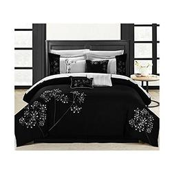 Chic Home 8 Piece Pink Floral Comforter Set, Queen, Black/Wh