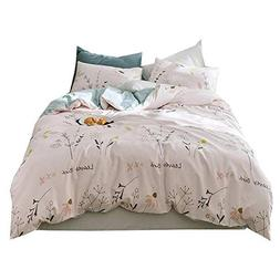 AMWAN Soft Cotton Floral Duvet Cover Set Twin Leaves Birds F