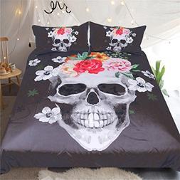 Sleepwish Floral Skull Bedding Black and White Skull Comfort