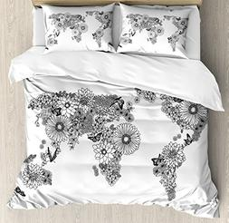 Ambesonne Floral World Map Duvet Cover Set Queen Size, Flora