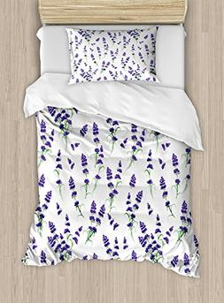 Ambesonne Flower Duvet Cover Set Twin Size, Watercolor Laven