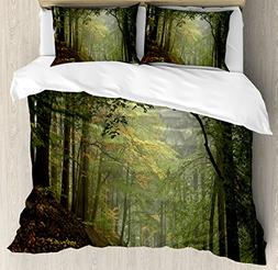Ambesonne Forest Duvet Cover Set Queen Size, Misty Autumn Fo