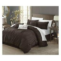 Chic Home 7-Piece Francesca Pleated Comforter Set, Coffee, Q