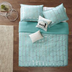 Full Bedding Set For Girls Teen Aqua Metallic Silver Geometr