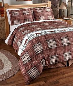 King 3-Pc. Comforter & Pillow Sham Set Bear Lodge Rustic Log