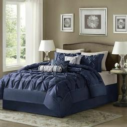 Full Queen Cal King Bed Solid Navy Blue Pintuck Pleat 7 pc C