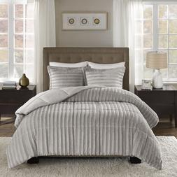 Full Queen Cal King Size Bed Solid Gray Grey Striped Faux Fu