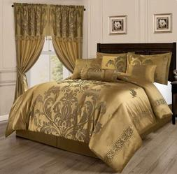 Full Queen Cal King Size Bed Solid Gold Floral Damask 7 pc C