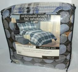 Full/ Queen Comforter Art Deco Set 3 Piece Reversible Plaid