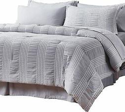 Bedsure King Comforter Set 8 Piece Bed in A Bag Stripes Seer
