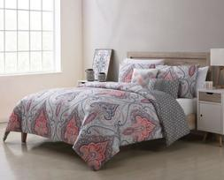 Full Queen King Bed Coral Pink Gray Grey Ivory Damask 5 pc C