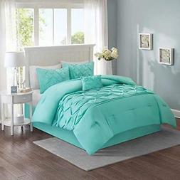 Full Queen King Size Bed Solid Aqua Blue Pintuck Pleat Tufte