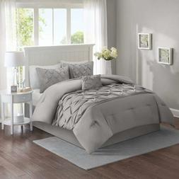 Full Queen King Size Bed Solid Gray Grey Pintuck Pleat Tufte