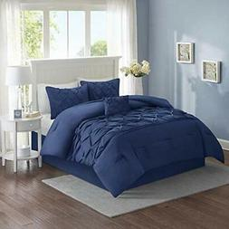 Full Queen King Size Bed Solid Navy Blue Pintuck Pleat Tufte