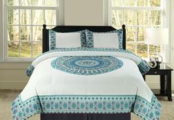 Full/Queen or King Boho Mandala Blue Teal Bedding Comforter