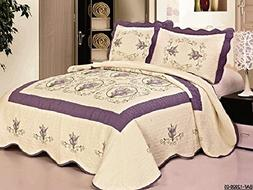 3pcs High Quality Fully Quilted Embroidery Quilts Bedspread