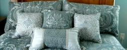 Croscill Gabrijel King Comforter Set Slate Blue Damask Patte