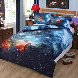 Alicemall Galaxy Bedding Full Size Outer Space Home Textile