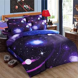Cliab Galaxy Bedding Twin Size Purple Blue for Girls Kids Bo