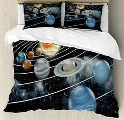 Galaxy Duvet Cover Set with Pillow Shams Solar System Sun Pl