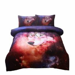 Galaxy Wolf Comforter Set Kids Boys Dorm Bedding Animal Prin