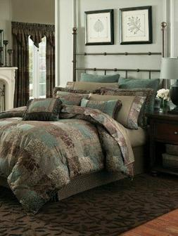 Croscill Galleria 4pc KING Comforter Set Brown AQUA Shams Be