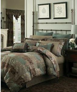 CROSCILL GALLERIA BROWN QUEEN SIZE 4 PIECE COMFORTER SET