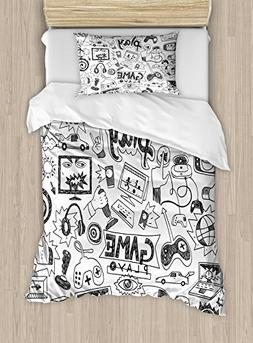 Ambesonne Video Games Duvet Cover Set Twin Size, Monochrome