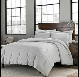 garment washed solid 3 piece king comforter
